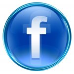 Facebook icon blue, isolated on white background